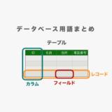 【データベース用語まとめ】テーブル、カラム、フィールド、レコードとは?